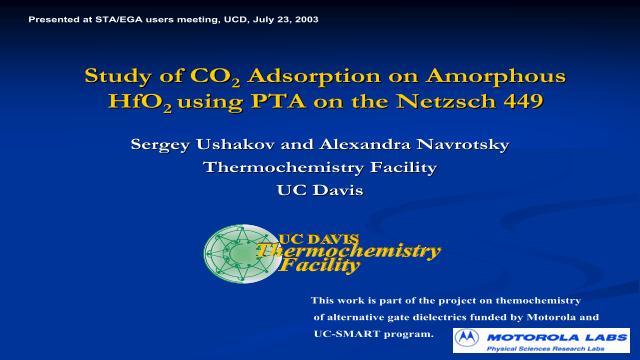 Study of CO2 Adsorption on Amorphous HfO2 using PTA on the Netzsch 449