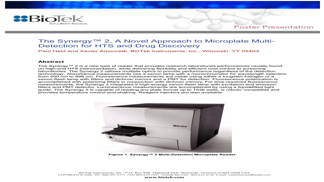 The Synergy™ 2, A Novel Approach to Microplate Multi- Detection for HTS and Drug Discovery
