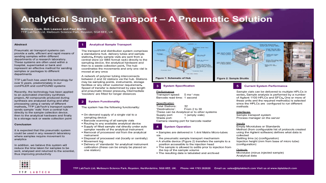 Analytical Sample Transport – A Pneumatic Solution
