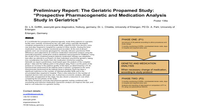 Preliminary Report: The Geriatric Propamed Study: Prospective pharmacopgenetics in geriatrics
