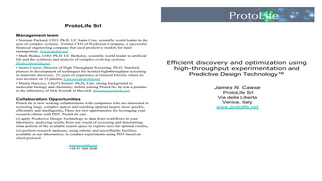 Efficient discovery and optimization using high-throughput experimentation and Predictive Design Technology™