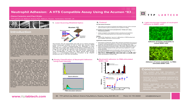 Neutrophil Adhesion: A HCS Compatible Assay Using the Acumen eX3