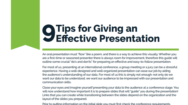 9 Tips for Giving an Effective Presentation