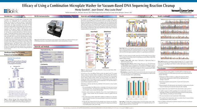 Efficacy of Using a Combination Microplate Washer for Vacuum-Based DNA Sequencing Reaction Cleanup
