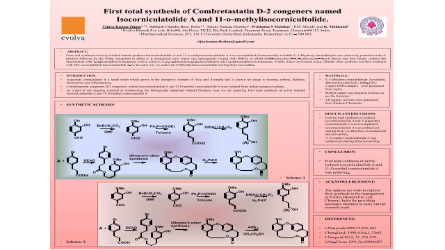 First total synthesis of Combretastatin D-2 congeners named Isocorniculatolide A and 11-o-methylisocornicultolide