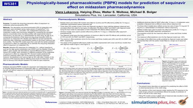 Physiologically-based pharmacokinetic (PBPK) models for prediction of saquinavir effect on midazolam pharmacodynamics