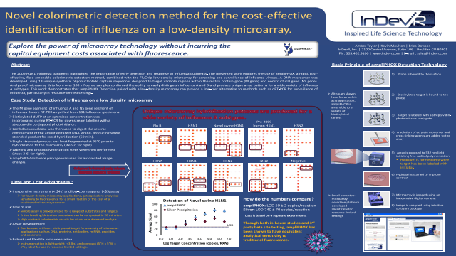 Novel colorimetric detection method for the cost-effective identification of influenza on a low-density microarray
