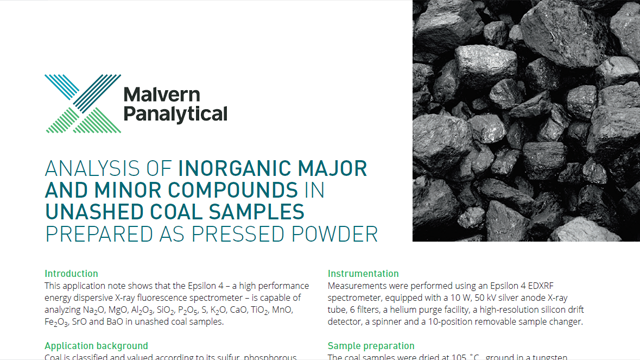 Analysis of Inorganic Major and Minor Compounds in Un-Ashed Coal Samples Prepared as Pressed Powder