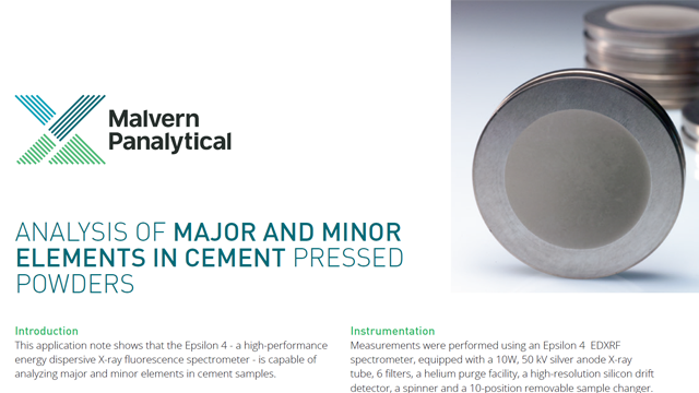 Analysis of major and minor elements in cement pressed powders