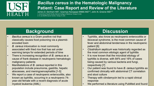 Bacillus cereus in the Hematologic Malignancy Patient: Case Report and Review of the Literature
