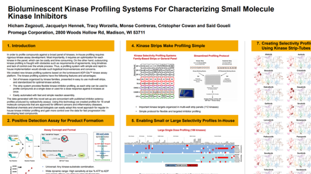 Bioluminescent Kinase Profiling Systems For Characterizing Small Molecule Kinase Inhibitors
