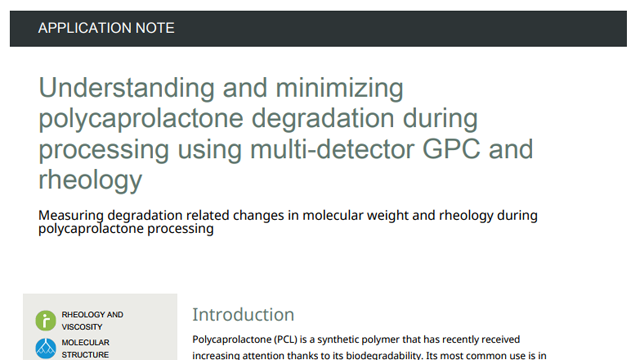 Characterization of PLA and PLGA Samples Using Multi-Detector GPC and Rheometry