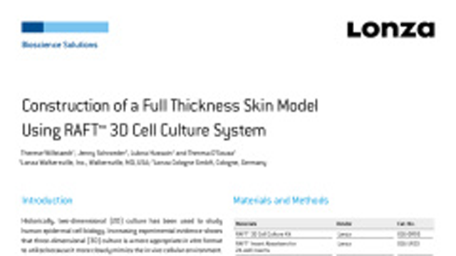 Construction of a Full-Thickness Skin Model Using RAFT™ 3D Cell Culture System
