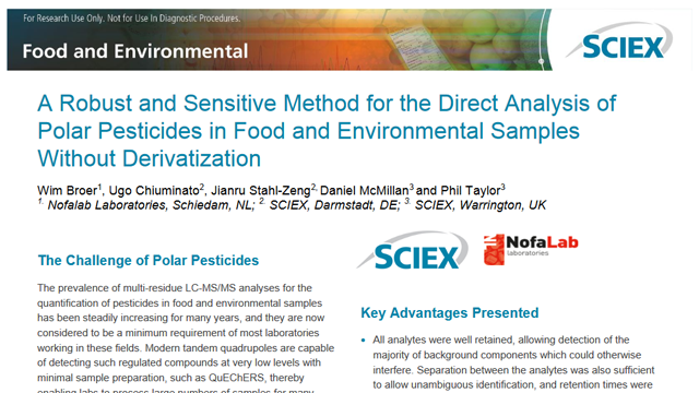 Direct Analysis of Polar Pesticides Without Derivatization [Application Note]