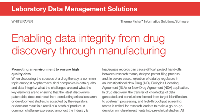 Enabling Data Integrity from Drug Discovery through Manufacturing