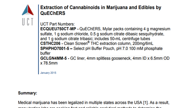 Extraction of Cannabinoids in Marijuana and Edibles by QuEChERS