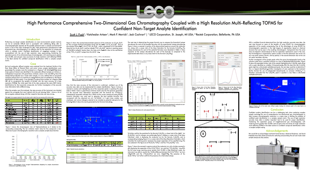 High Performance Comprehensive Two-Dimensional Gas Chromatography Coupled with a High Resolution Multi-Reflecting TOFMS for Confident Non-Target Analyte Identification