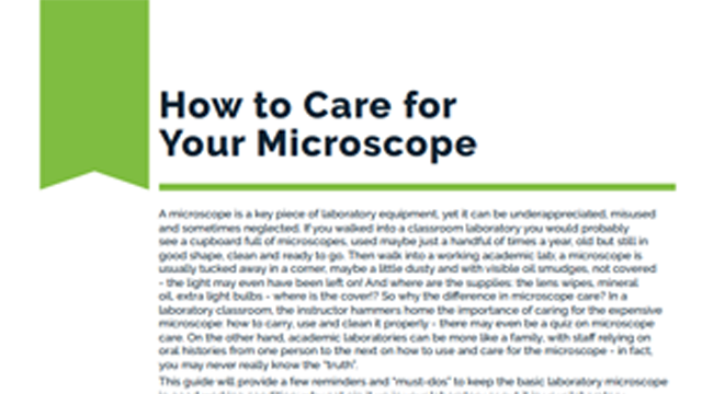 How to Care for Your Microscope
