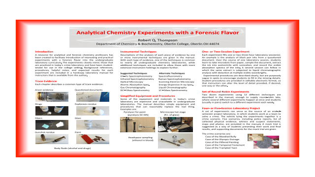 Instrumental Investigations: A Laboratory Manual of Forensic Analytical Chemistry