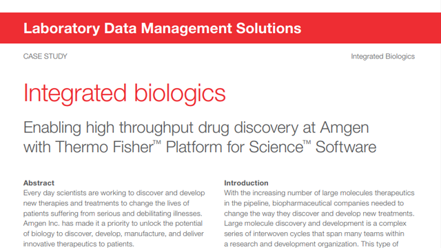 Integrated Biologics: Enabling high throughput drug discovery at Amgen