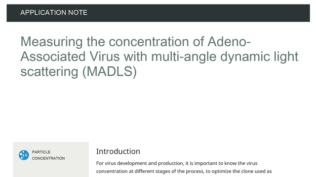 Measuring the concentration of Adeno-Associated Virus with multi-angle dynamic light scattering (MADLS)