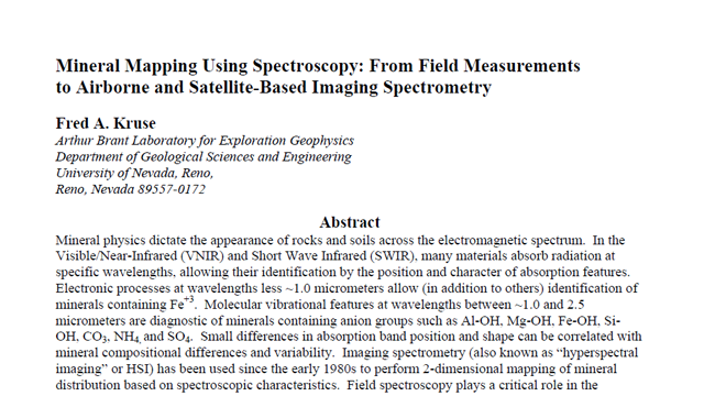 Mineral Mapping Using Spectroscopy - From Field Measurements to Airborne Satellite-Based Imaging Spectrometry