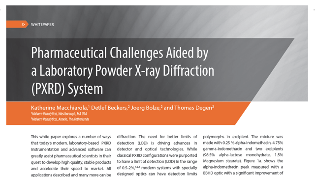 Pharmaceutical Challenges Aided by a Laboratory Powder X-ray Diffraction (PXRD) System
