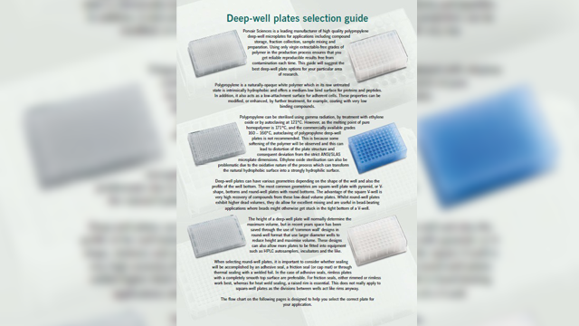 Porvair Sciences Releases Deep-well Plate Selection Guide