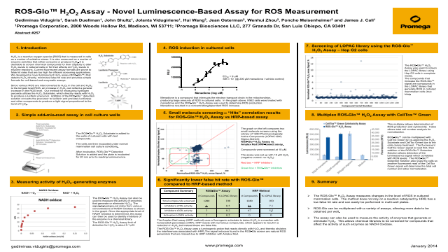ROS-Glo™ H<sub>2</sub>O<sub>2</sub> Assay: A Luminescent Assay for Detection of Reactive Oxygen Species Poster
