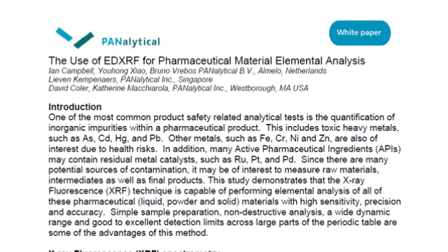 The Use of EDXRF for Pharmaceutical Material Elemental Analysis