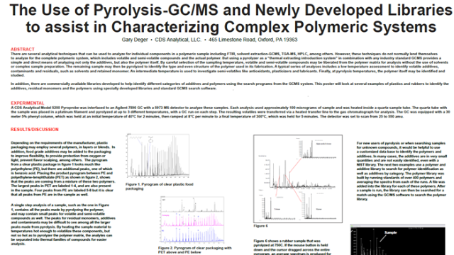The Use of Pyrolysis/GCMS and Newly Developed Libraries to assist in Characterizing Complex Polymeric Samples