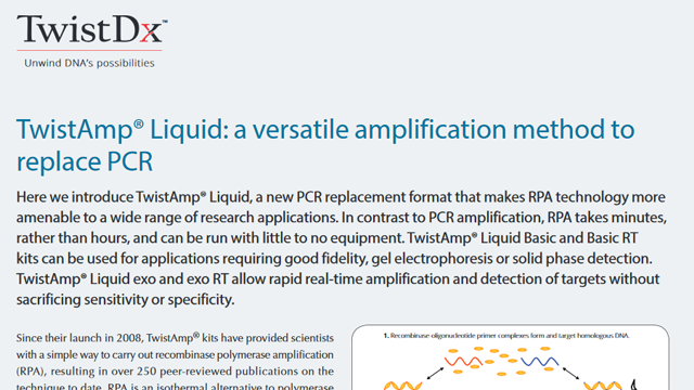 TwistAmp® Liquid: a versatile amplification method to  replace PCR