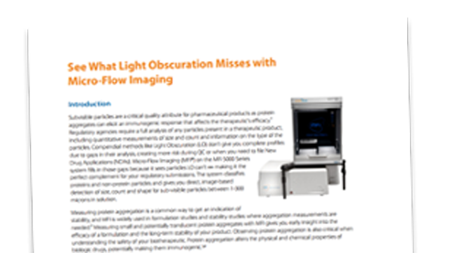 Using Micro Flow Imaging (MFI) to Measure Protein Aggregation