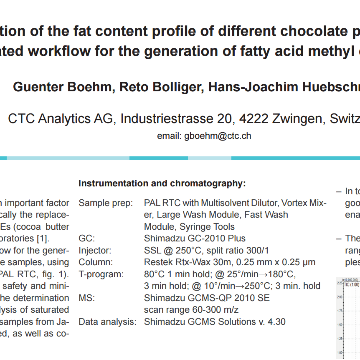 Determination of the Fat Content Profile of different Chocolate Products using an Automated Workflow for the Generation of Fatty Acid Methyl Esters (FAME)